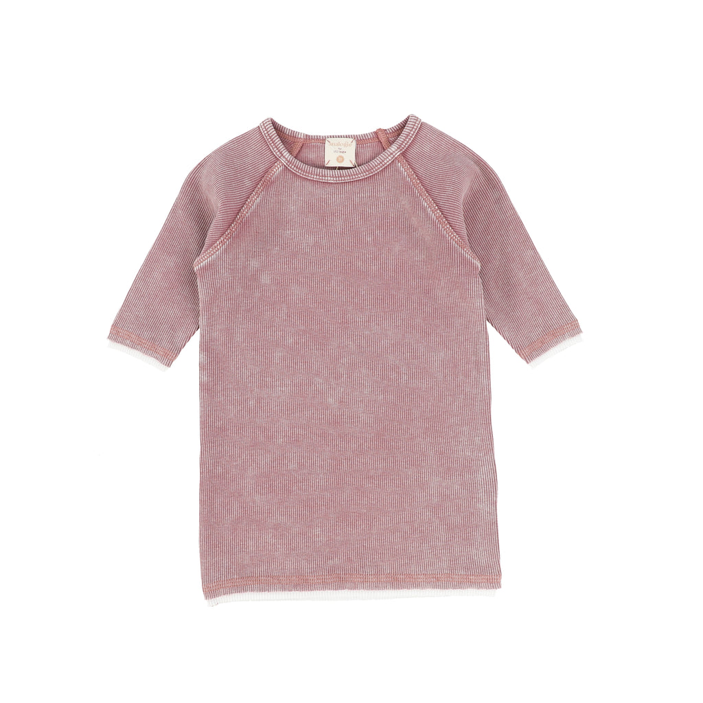 Lil Legs By Analogie Pink Wash 3/4 Sleeve Tee