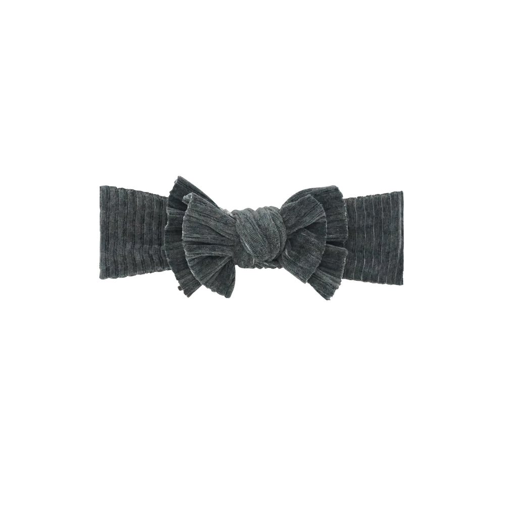 Bandeau Dark Grey Ribbed Velour Bow Baby Band