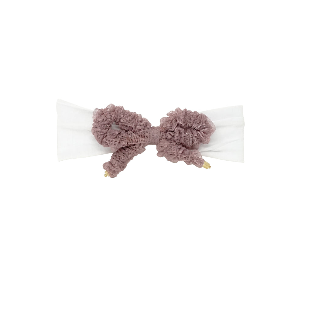 Bandeau Mauve Ruched Tulle Baby Band