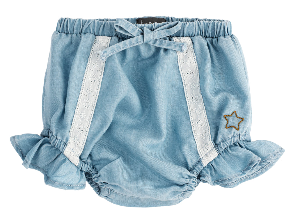 Tocoto Vintage Light Blue Tencel Bloomer With Frill