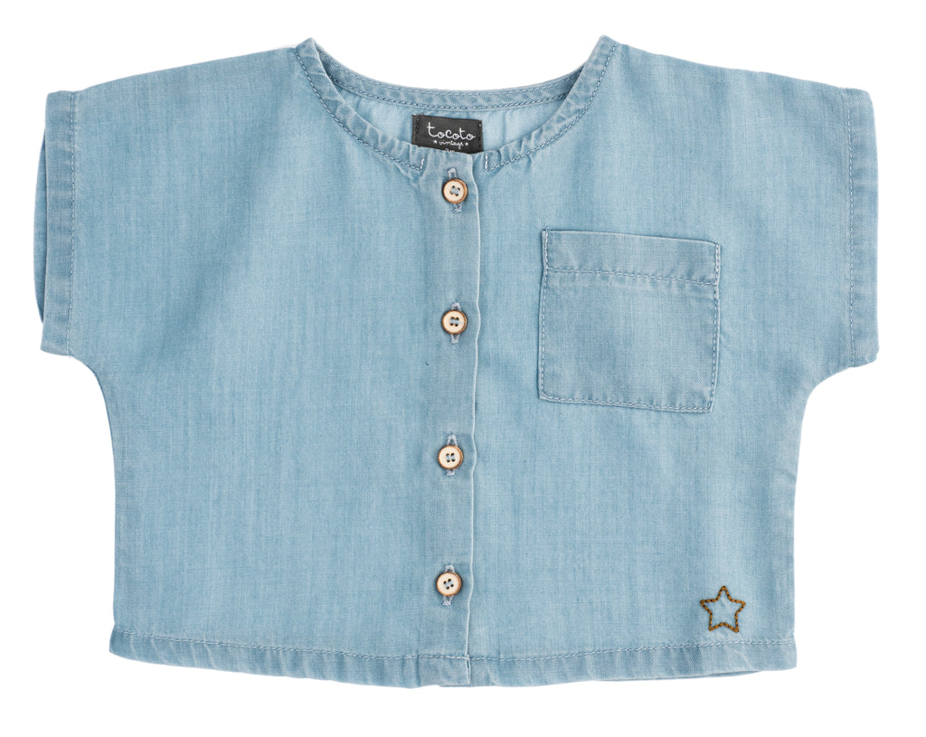 Tocoto Vintage Light Blue Tencel Shirt