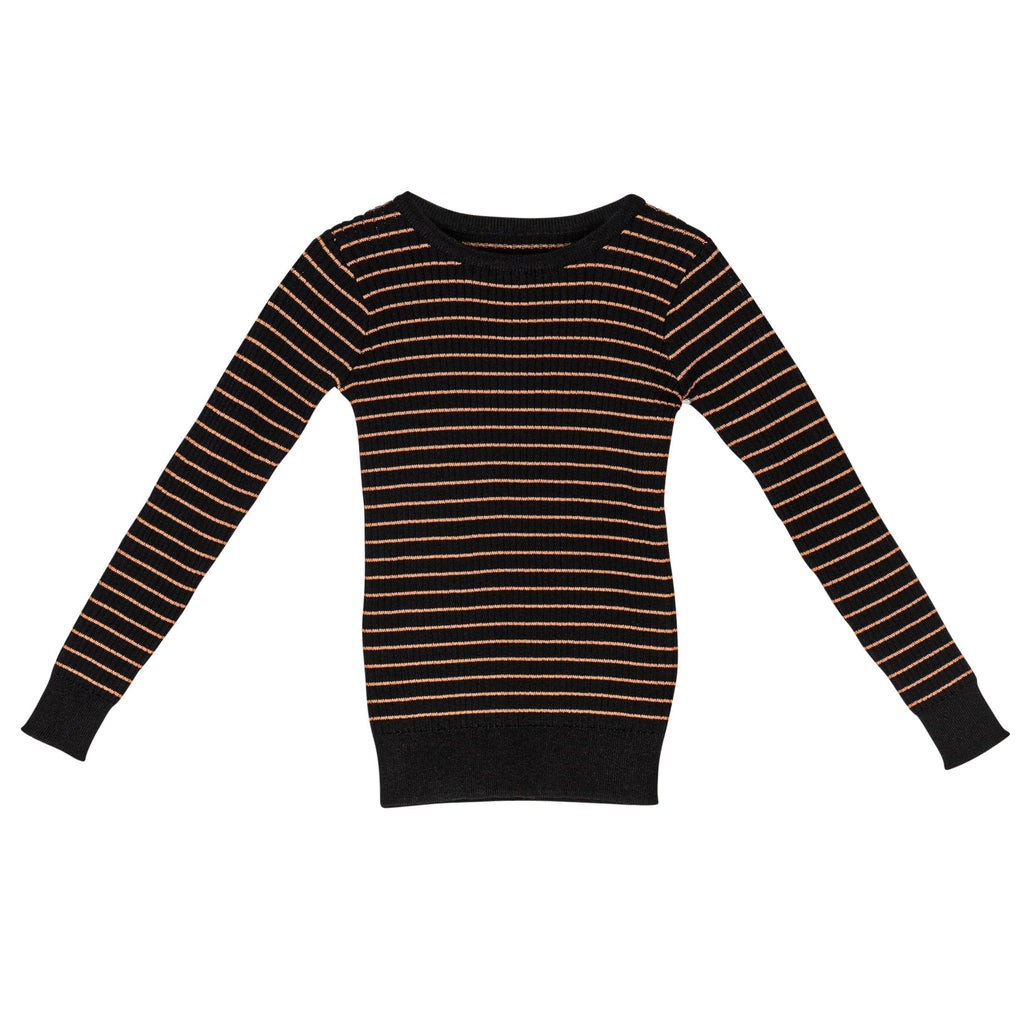 Sweet Threads Camel & Black Striped Top