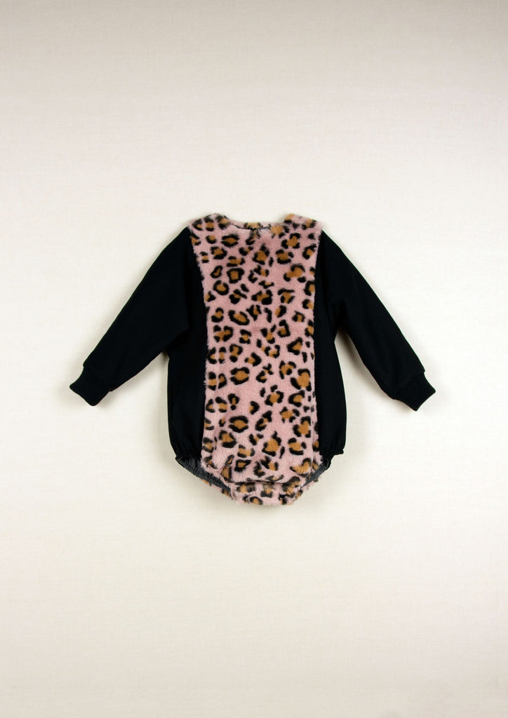 Popelin Black and Pink Leopard Print Romper
