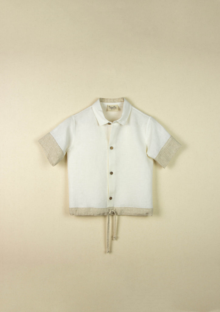 Popelin White Shirt With Beige Collar