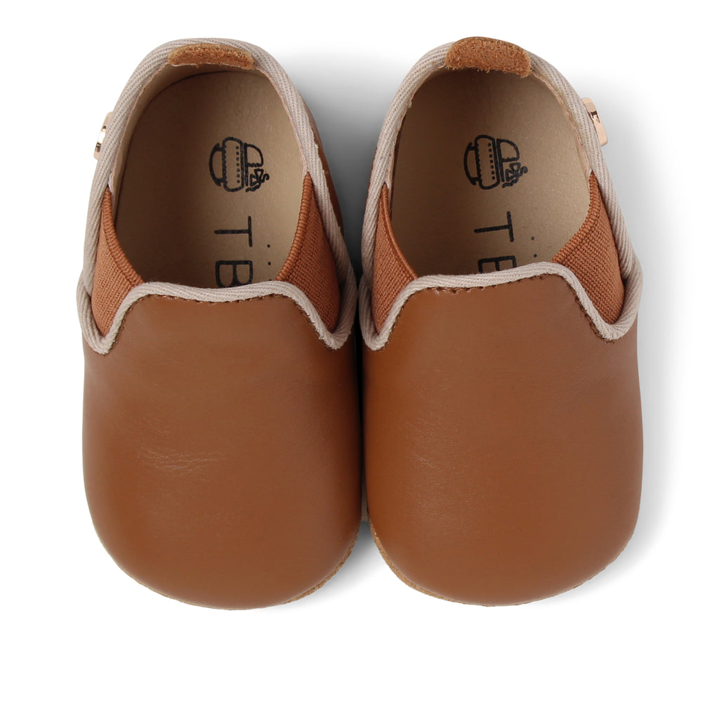TBGB Luggage Brown Leather Baby Moccasin