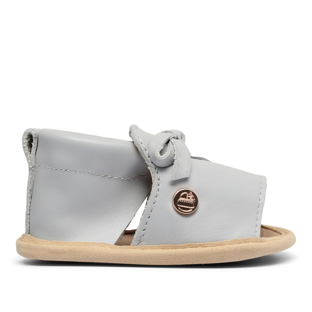 TBGB Grey Leather Bow Baby Shoe