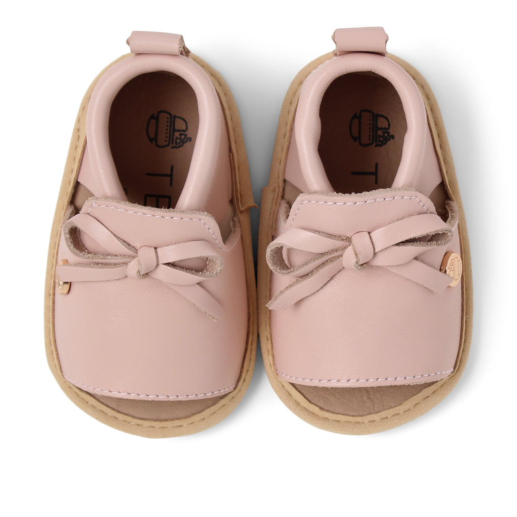 TBGB Pink Leather Bow Baby Shoe