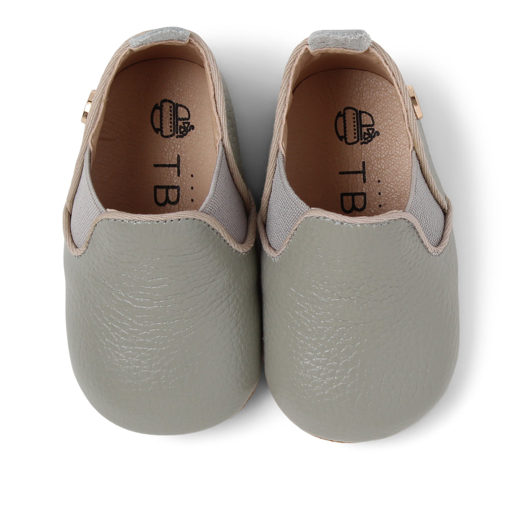 TBGB Grey Leather Baby Moccasin