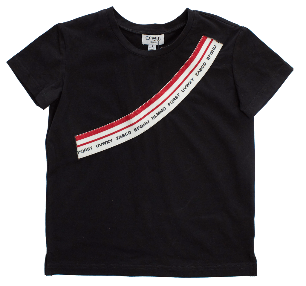 Crew Black Elastic Band Tee