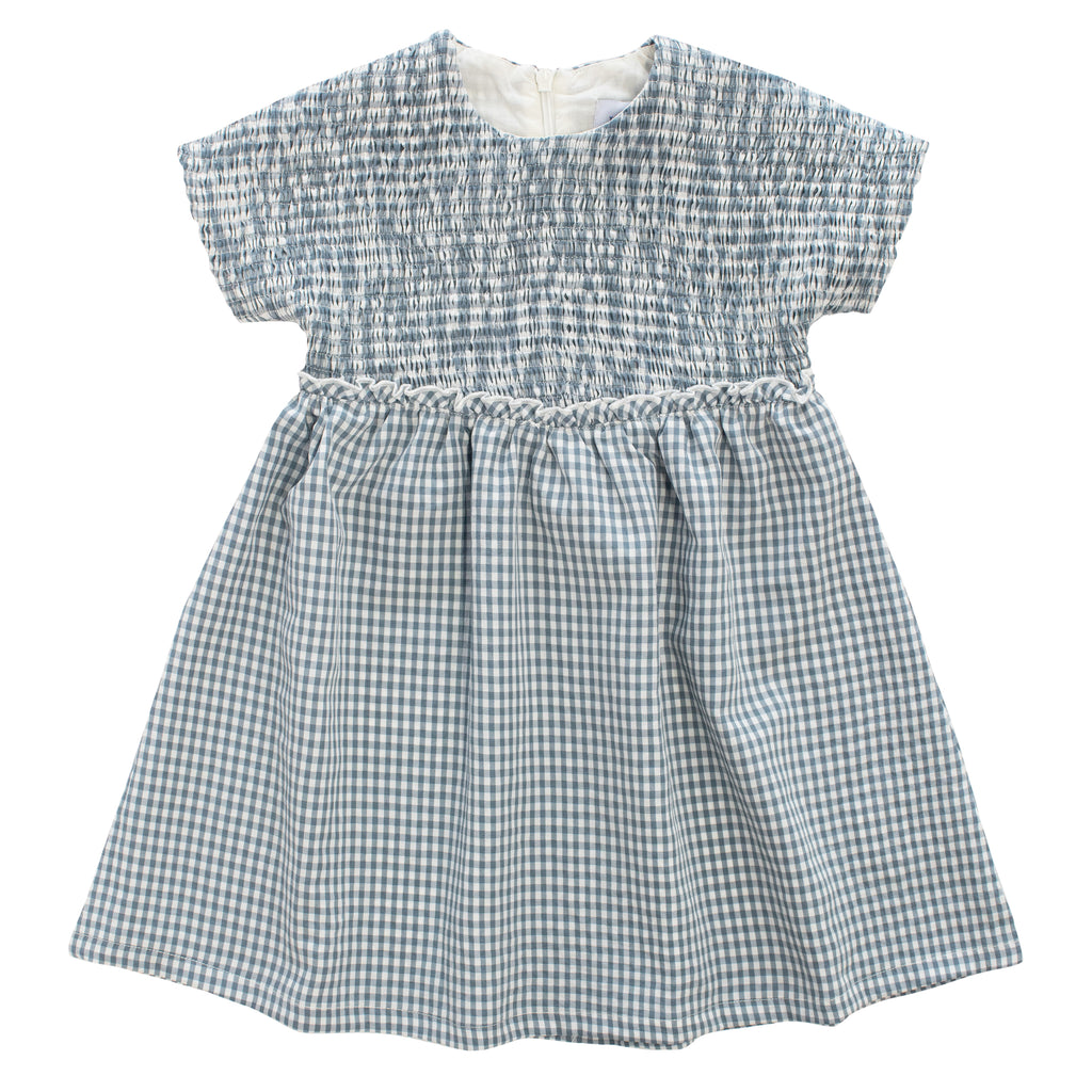 Kipp Sage Gingham Smocked Dress