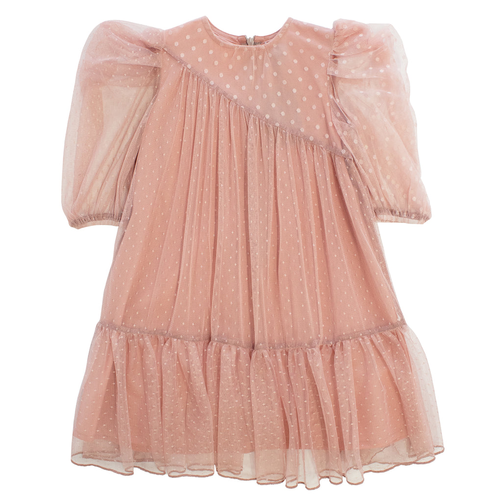 Kipp Pink Swiss Dot Tulle Dress