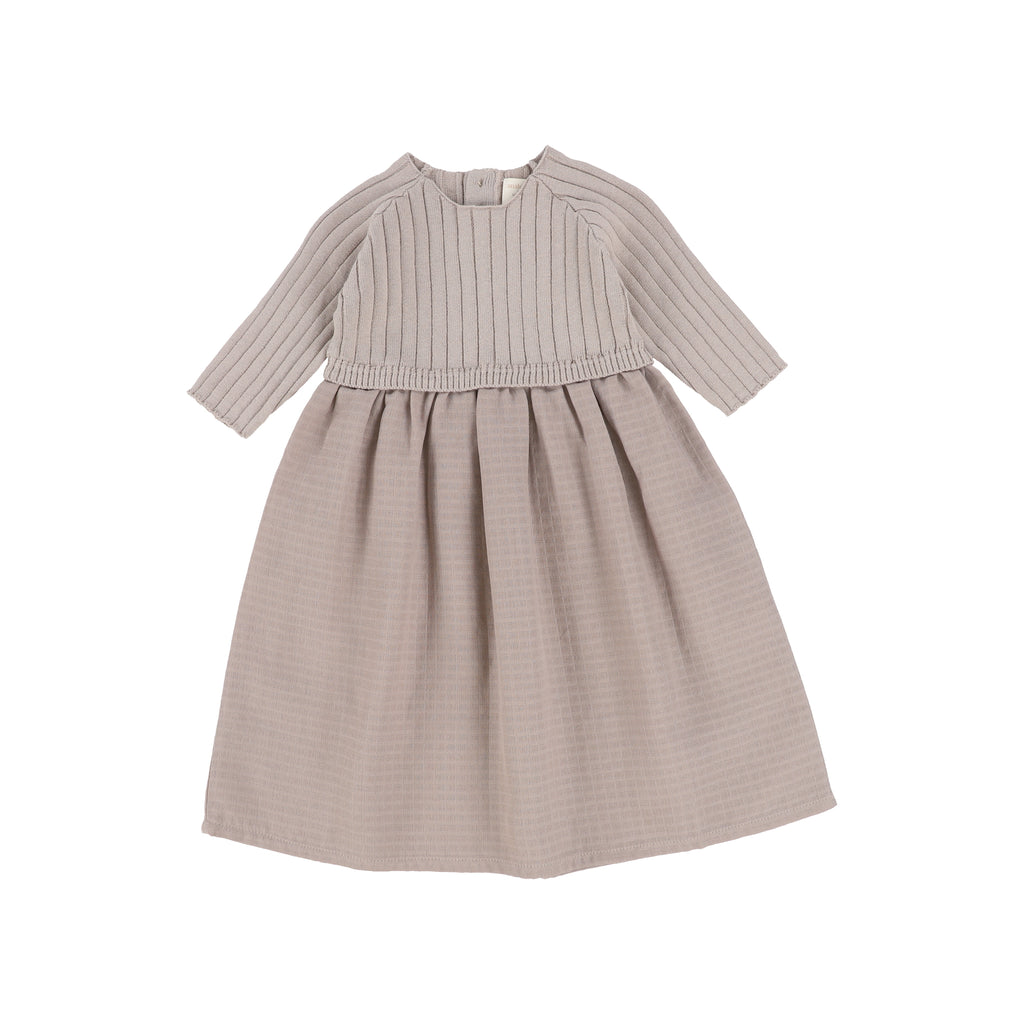Analogie By Lil Legs Taupe Three Quarter Sleeve Knit Dress