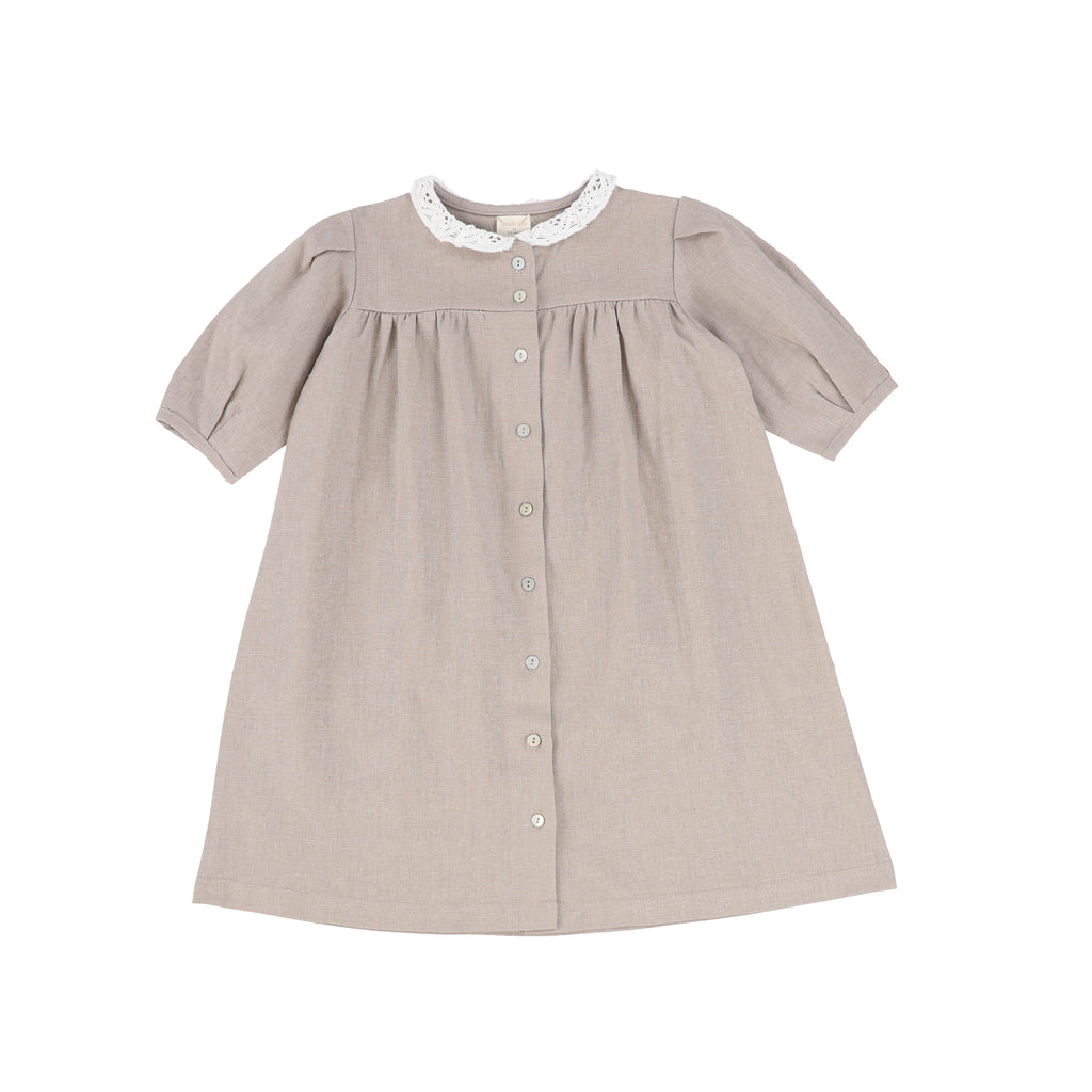 Analogie Taupe Three Quarter Sleeve Linen Collar Dress