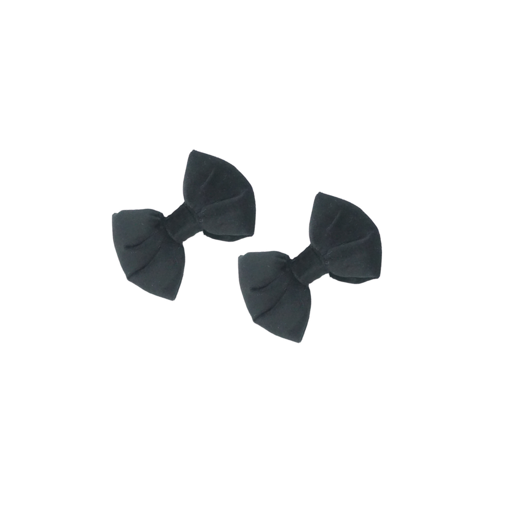 Bandeau Black Velvet Padded Mini Bows Clips Set