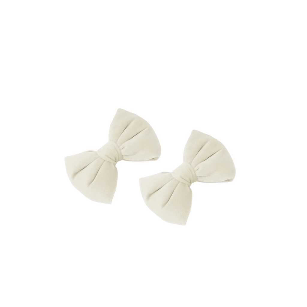 Bandeau Ecru Velvet Padded Mini Bows Clips Set