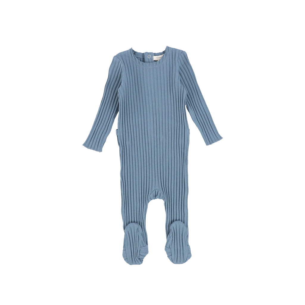 Lil Legs Very Blue Wide Ribbed Footie & Bonnet Set