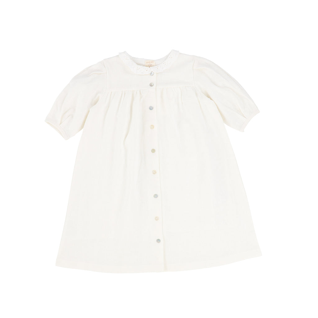 Analogie White Three Quarter Sleeve Linen Collar Dress