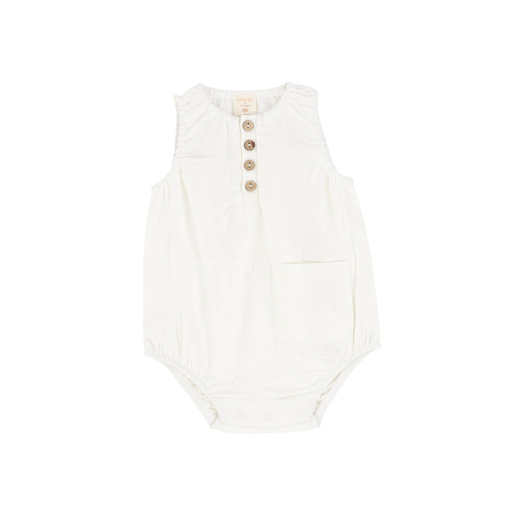 Analogie White Linen Pocket Romper