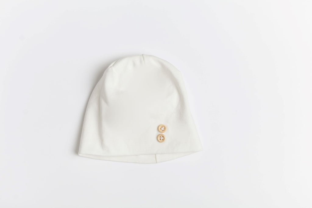 La Design White Button Baby Beanie