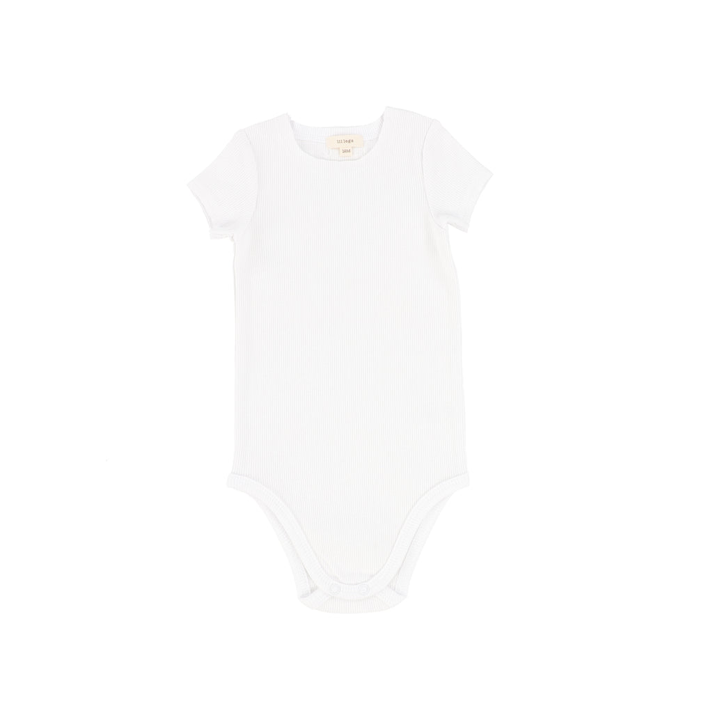 Lil Legs Winter White Short Sleeve Ribbed Onesie