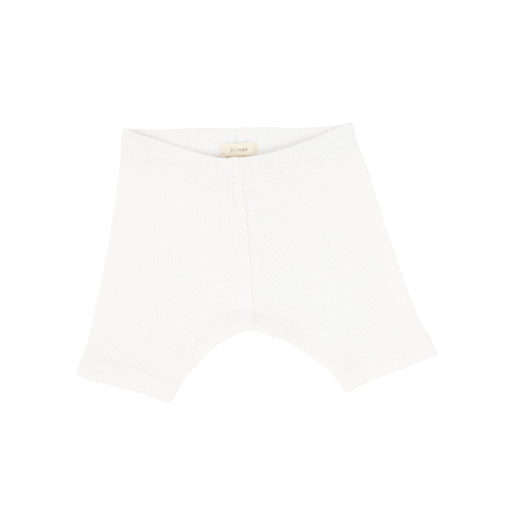 Lil Legs Winter White Ribbed Shorts