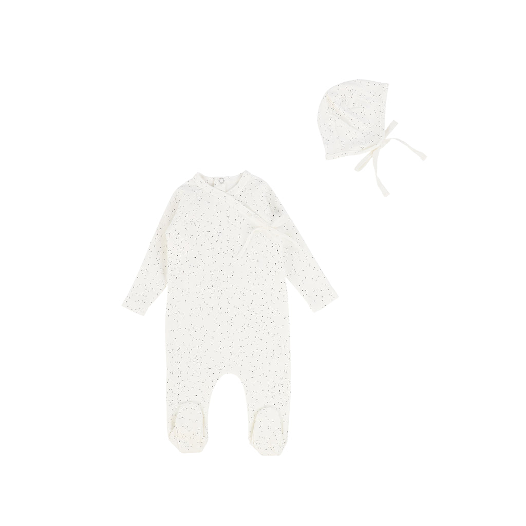 Bee & Dee White with Grey Dust Wrap Footie