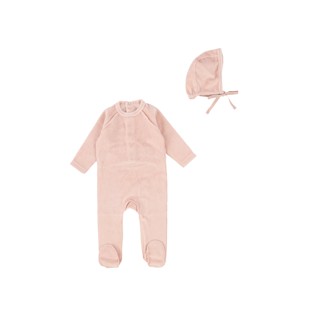 Bee & Dee Soft Blush Velour Footie