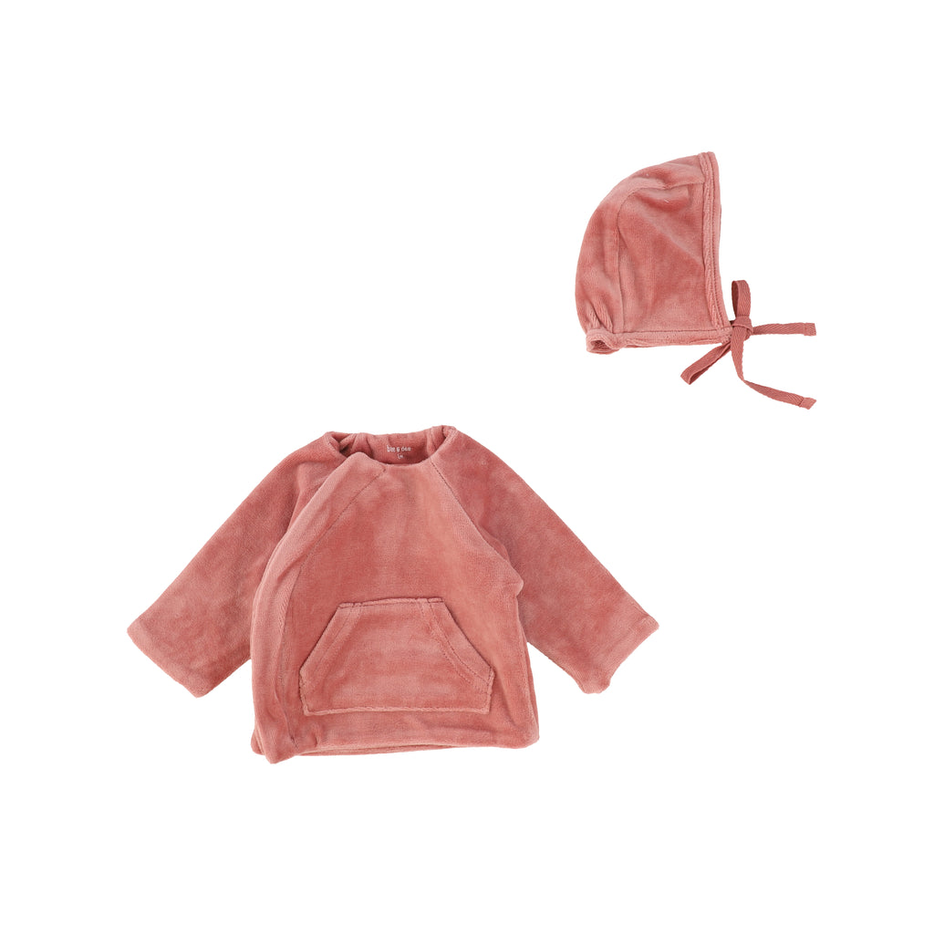 Bee & Dee Dusty Pink Velour Jacket & Bonnet