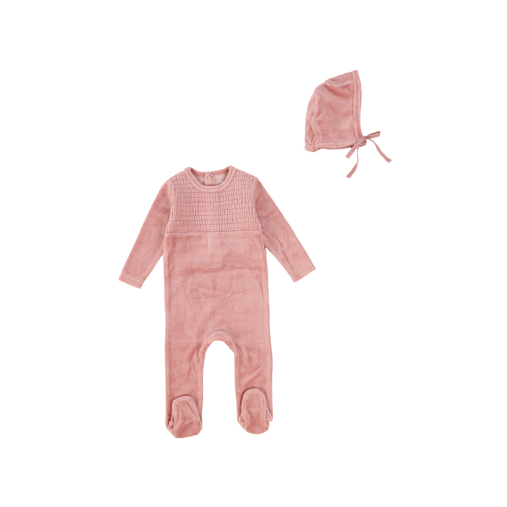 Bee & Dee Blush Smocked Velour Layette Set