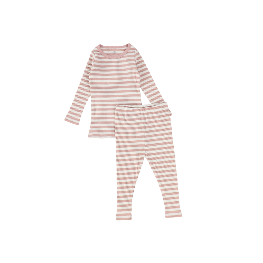 Bee & Dee Dusty Pink & Cream Striped Ribbed Loungewear