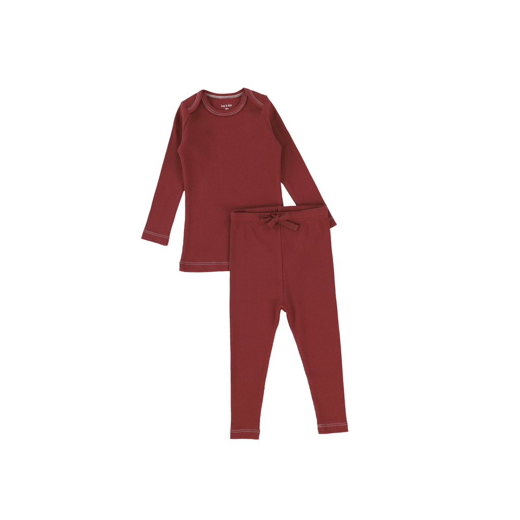 Bee & Dee Rust Red Ribbed Loungewear