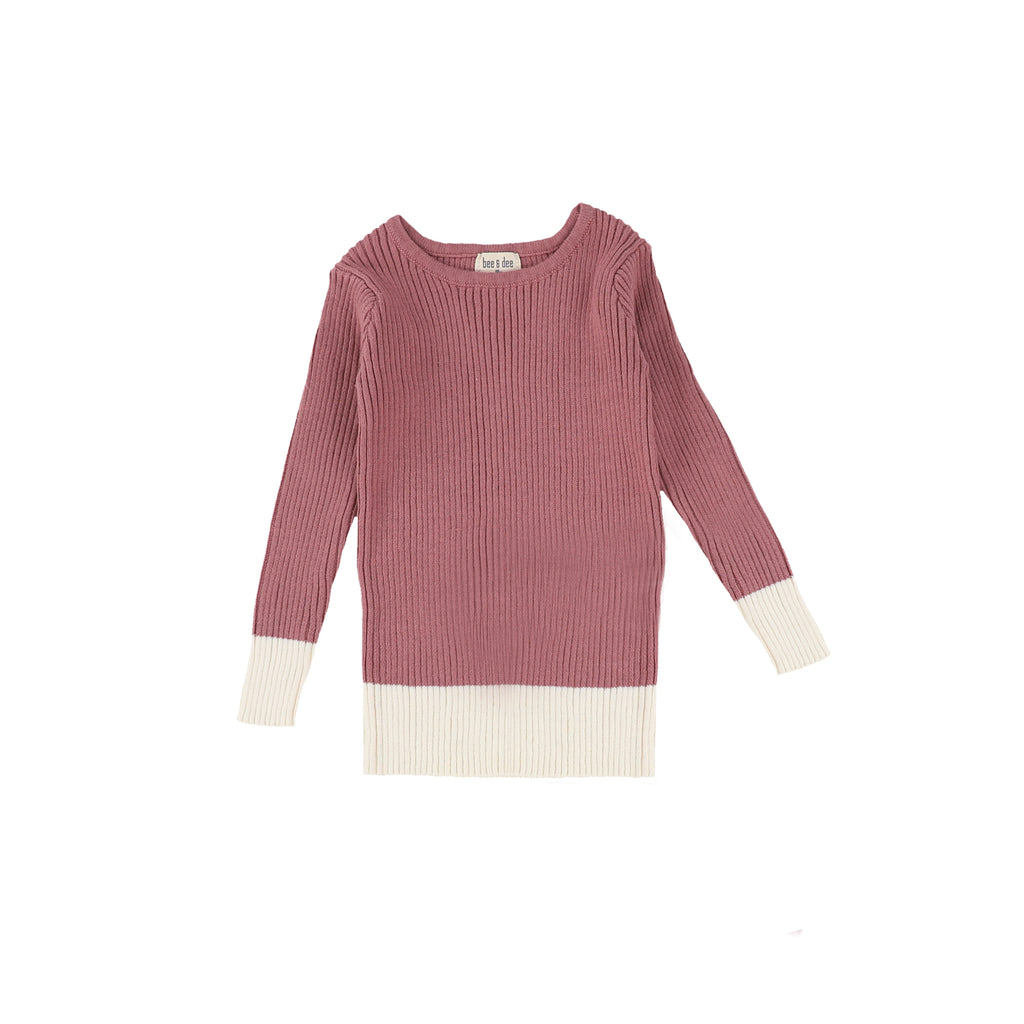Bee & Dee Mauve & Cream Knit Sweater