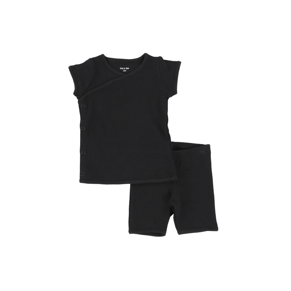 Bee & Dee Black Ribbed Two Piece Short Set