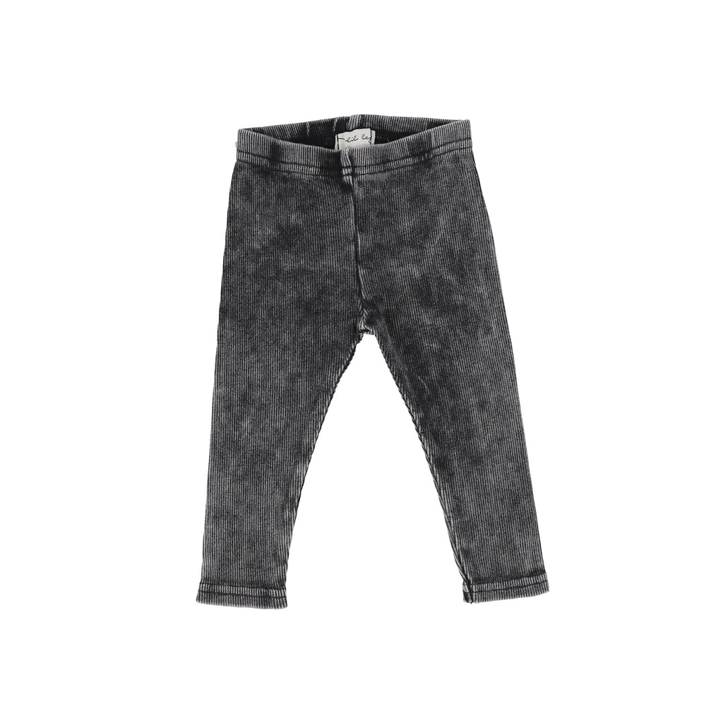 Lil Legs Black Wash Rib Legging