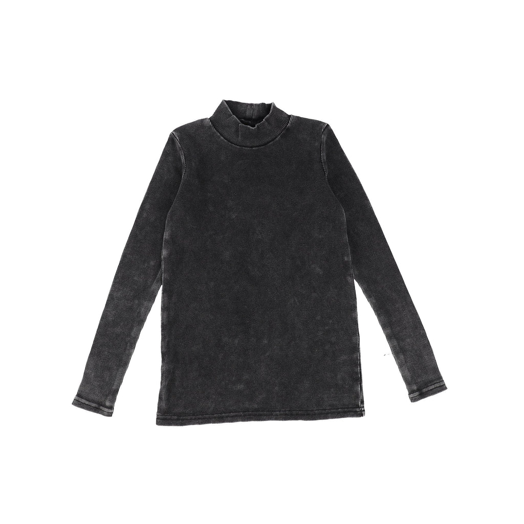 Lil Legs Black Wash Rib Turtleneck