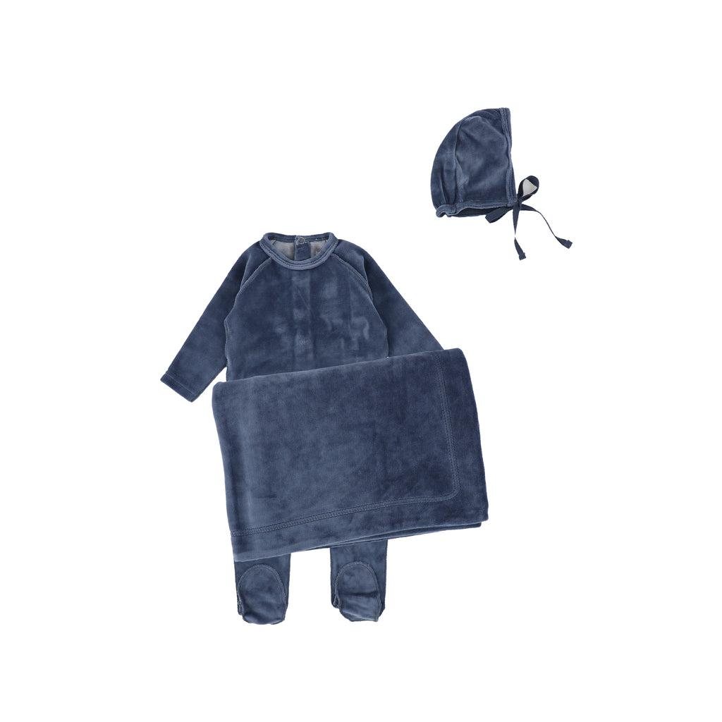 Bee & Dee Ocean Blue Classic Velour Layette Set