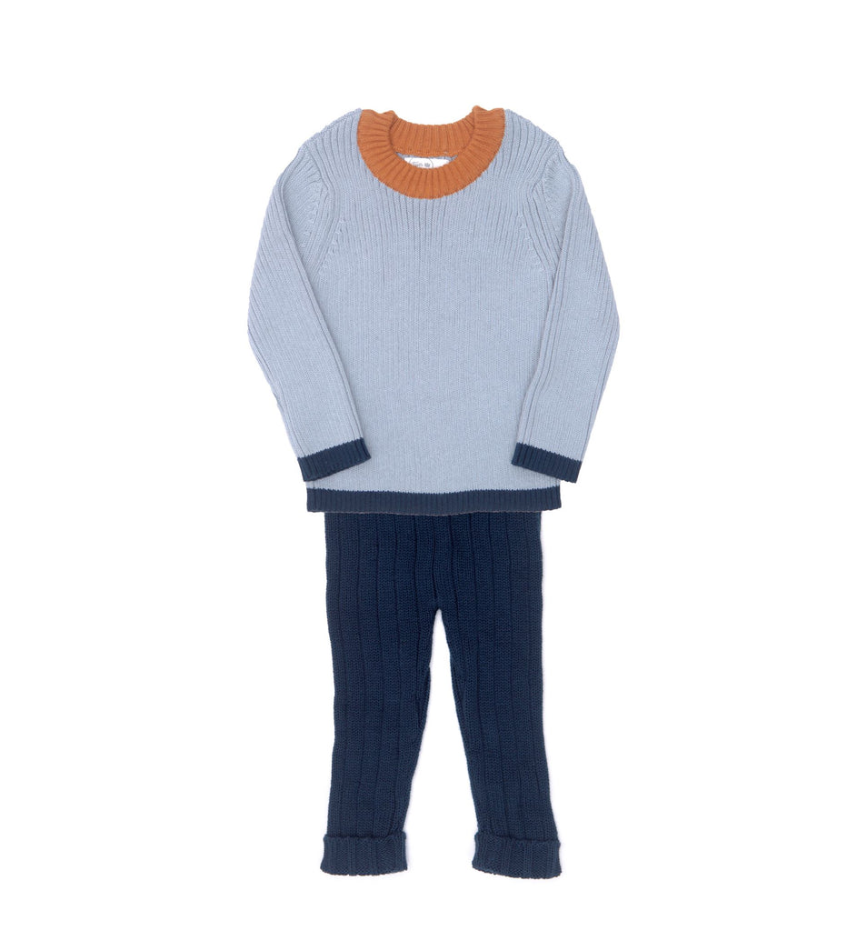 Tun Tun Dusty Blue & Navy Billie Knitted Set