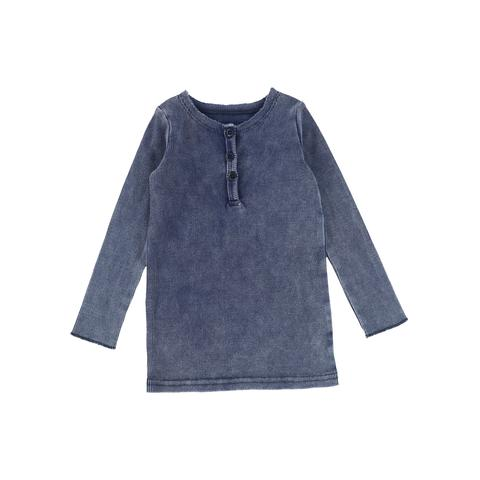 Lil Legs Blue Wash Center Button Long Sleeve Tee