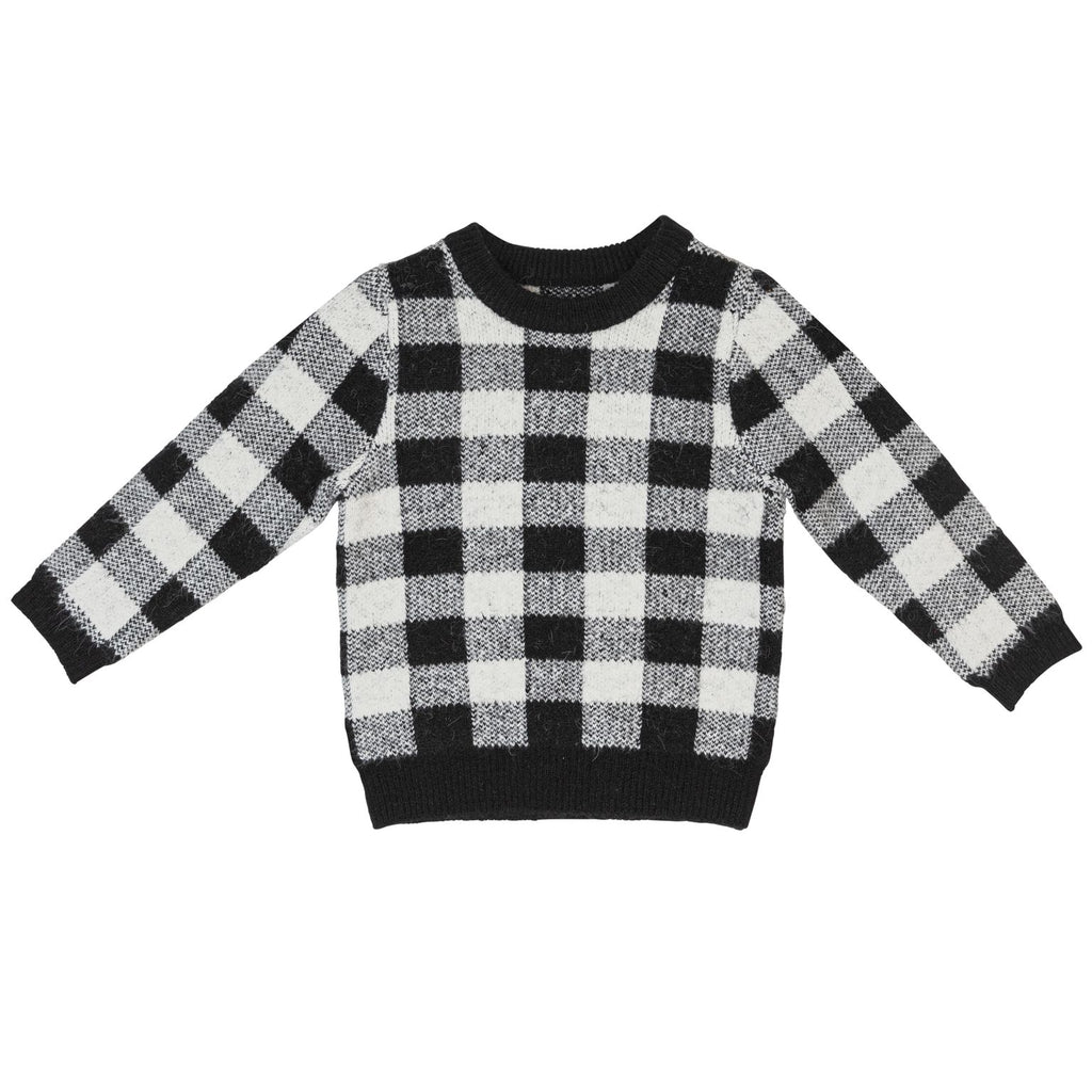Sweet Threads Black & White Checked Knit Sweater