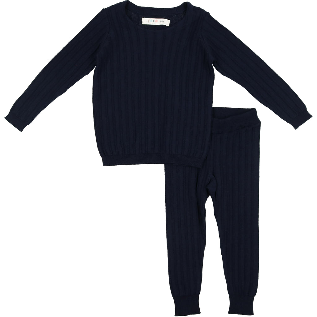 Coco Blanc Navy Ribbed Crew Set