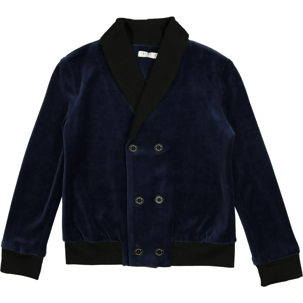 Coco Blanc Navy With Black Trim Velour Blazer