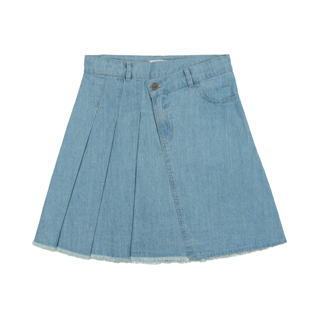 Coco Blanc Denim Mock Wrap Skirt