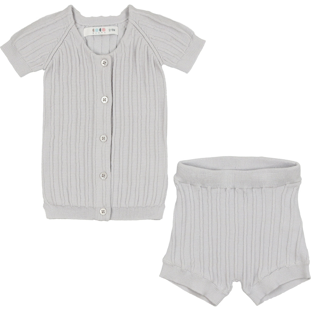 Coco Blanc Pale Blue Ribbed Set