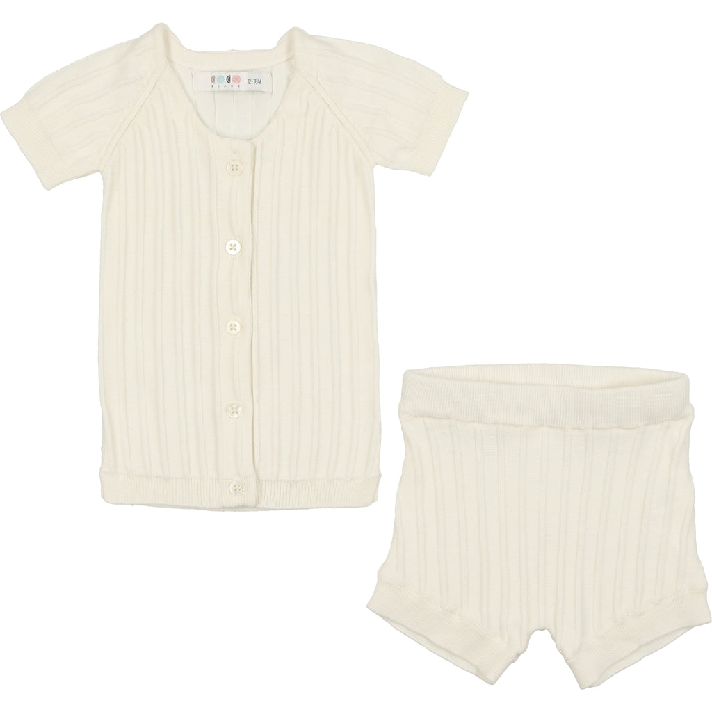 Coco Blanc Cream Ribbed Set