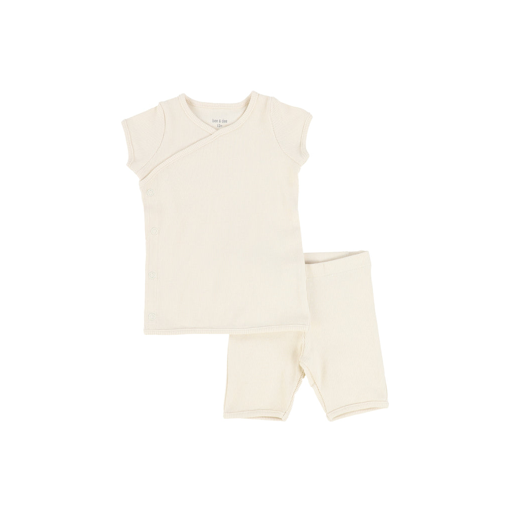 Bee & Dee Cream Ribbed Two Piece Short Set