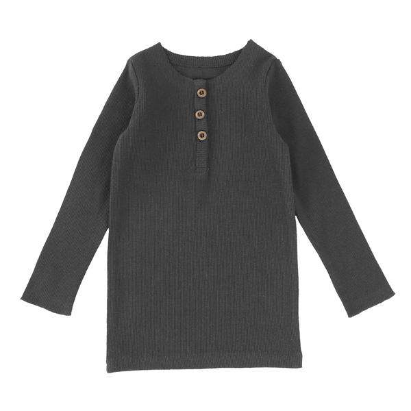 Lil Legs Dark Heather Center Button Long Sleeve Tee
