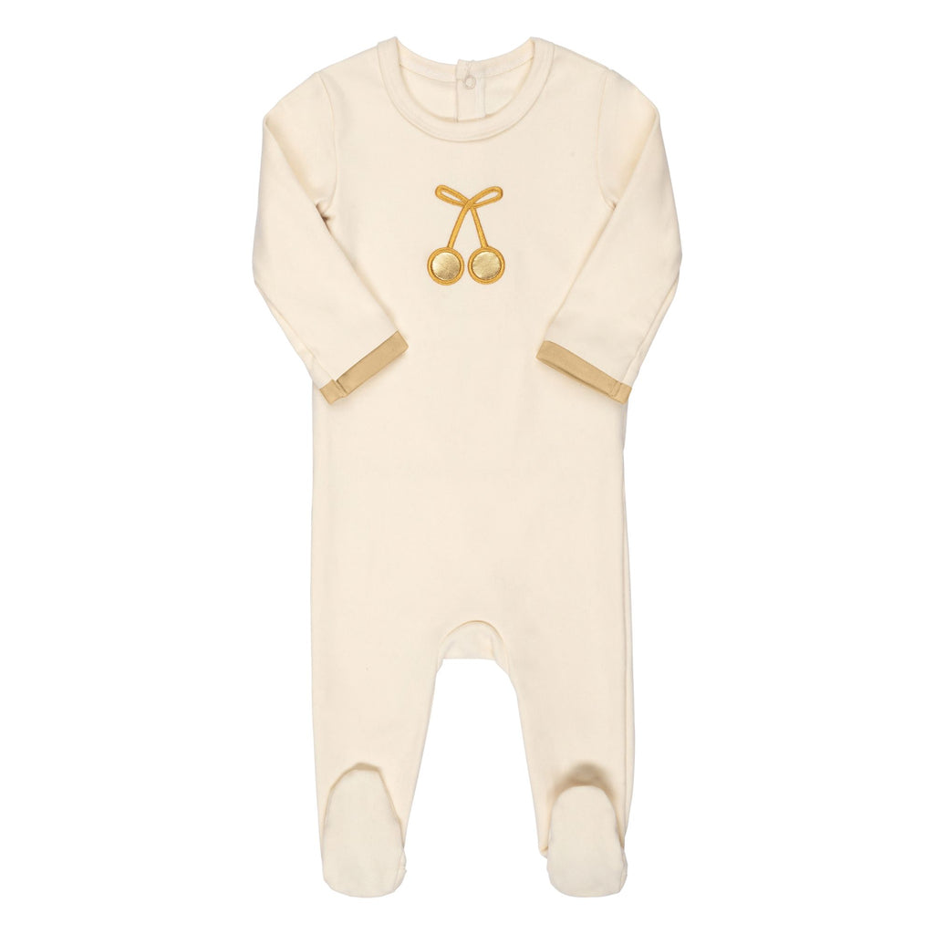 Bon Rever Ivory & Gold Cherry Footie