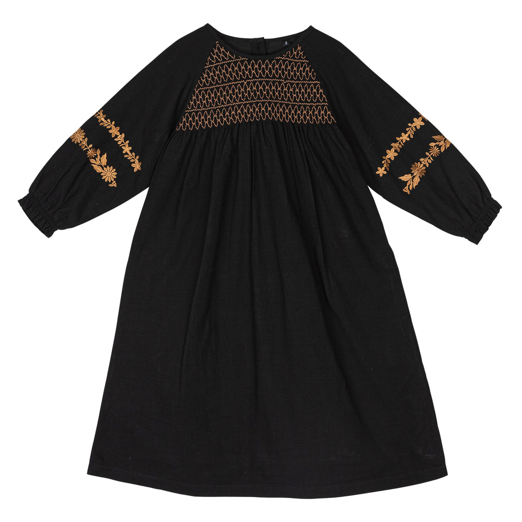 Sweet Threads Kyle Black Dress With Camel Embroidery