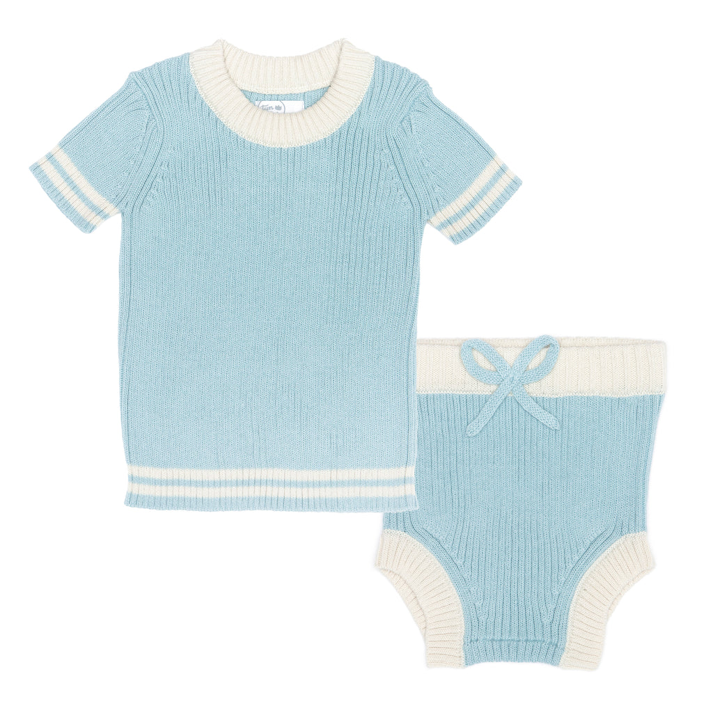 Tun Tun Light Blue & Natural Mike Knitted Set