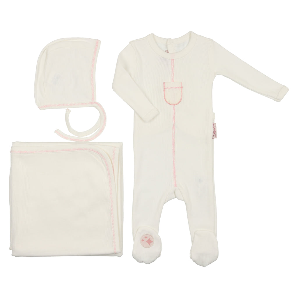 Charmant by Mon Tresor Ivory & Mauve Tip Top Layette Set